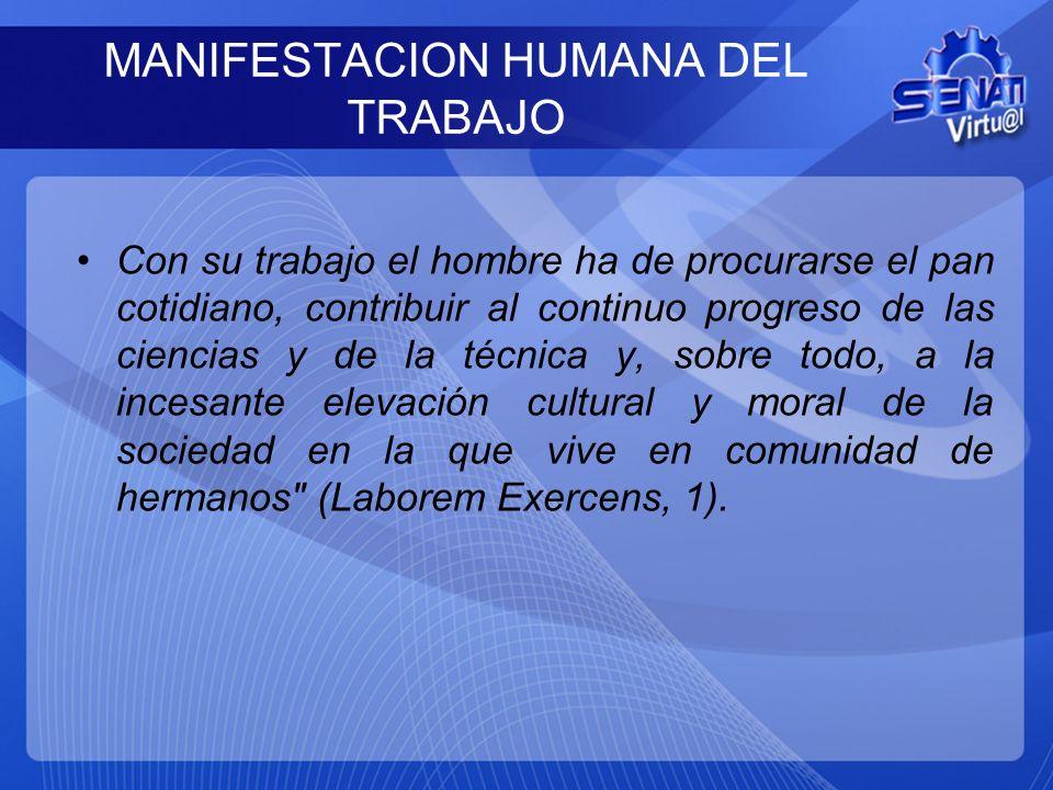 MANIFESTACION HUMANA DEL TRABAJO