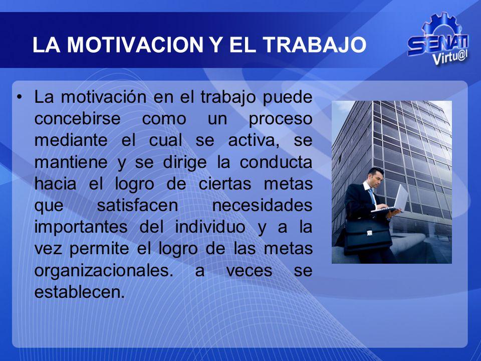 LA MOTIVACION Y EL TRABAJO