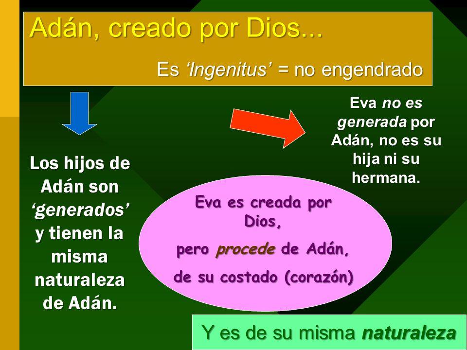 Adán, creado por Dios... Es 'Ingenitus' = no engendrado