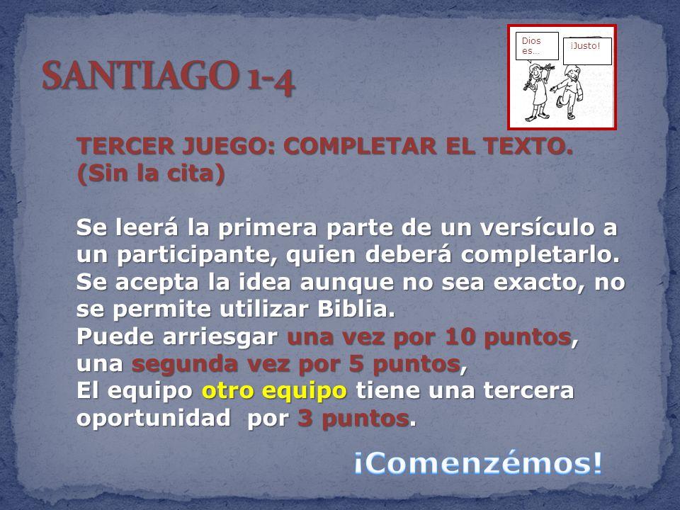 SANTIAGO 1-4 ¡Comenzémos! TERCER JUEGO: COMPLETAR EL TEXTO.