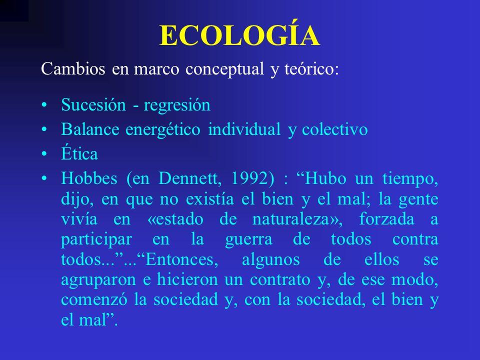 ECOLOGÍA Cambios en marco conceptual y teórico: Sucesión - regresión