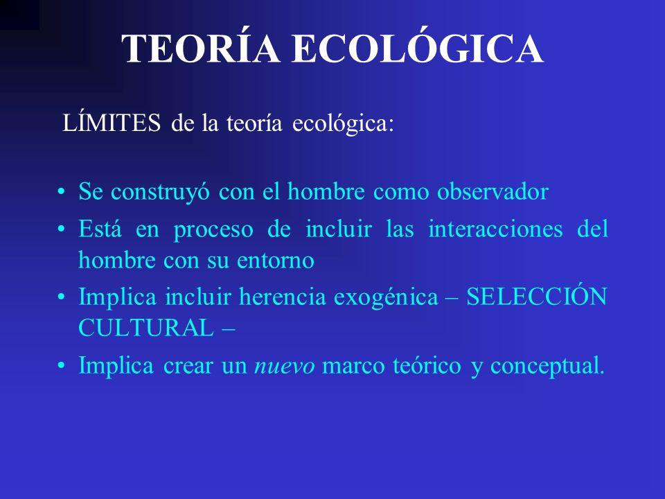 TEORÍA ECOLÓGICA LÍMITES de la teoría ecológica: