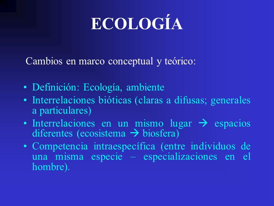 ECOLOGÍA Cambios en marco conceptual y teórico: