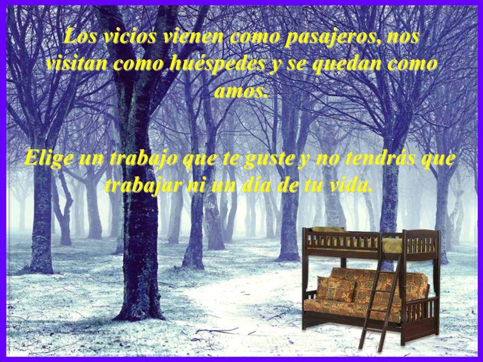 Los vicios vienen como pasajeros, nos visitan como huéspedes y se quedan como amos.