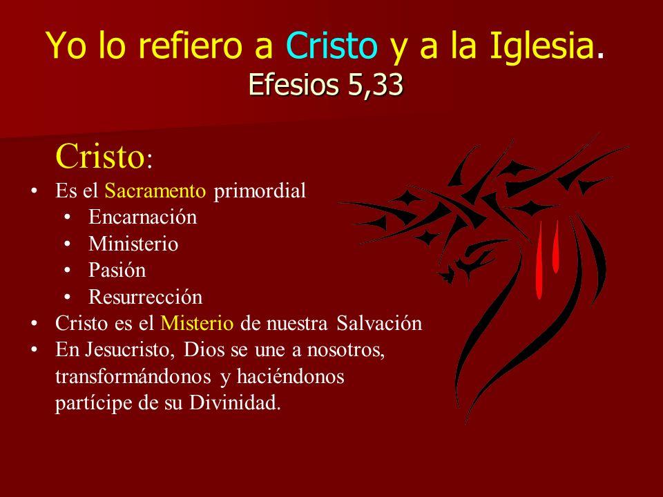 Yo lo refiero a Cristo y a la Iglesia. Efesios 5,33
