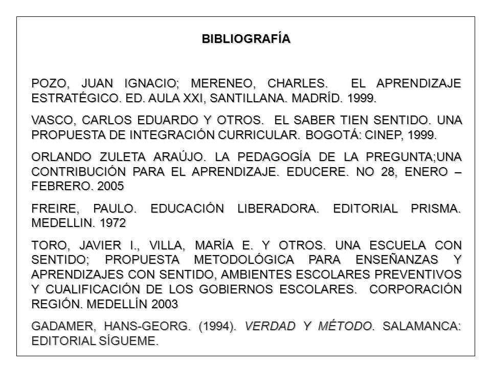 BIBLIOGRAFÍA POZO, JUAN IGNACIO; MERENEO, CHARLES. EL APRENDIZAJE ESTRATÉGICO. ED. AULA XXI, SANTILLANA. MADRÍD. 1999.