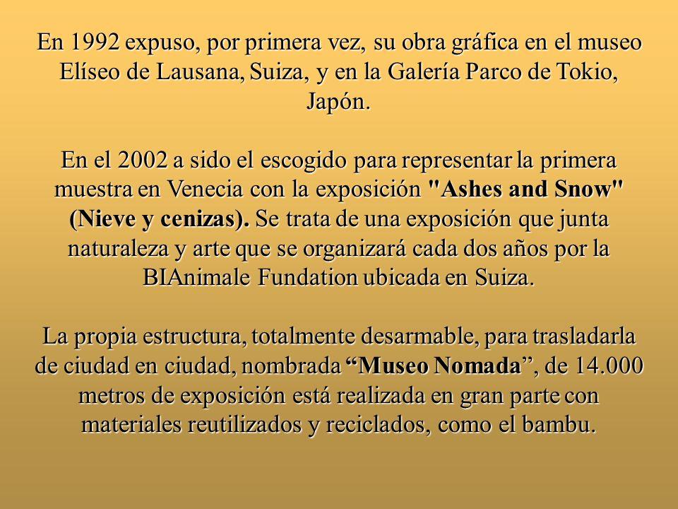 En 1992 expuso, por primera vez, su obra gráfica en el museo Elíseo de Lausana, Suiza, y en la Galería Parco de Tokio, Japón.