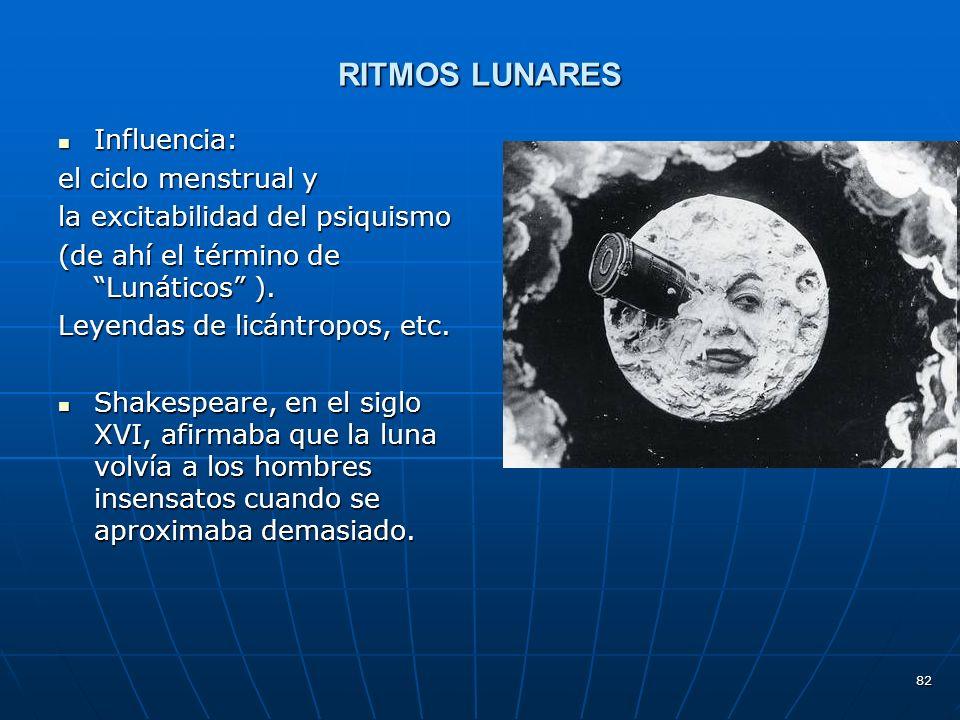 RITMOS LUNARES Influencia: el ciclo menstrual y
