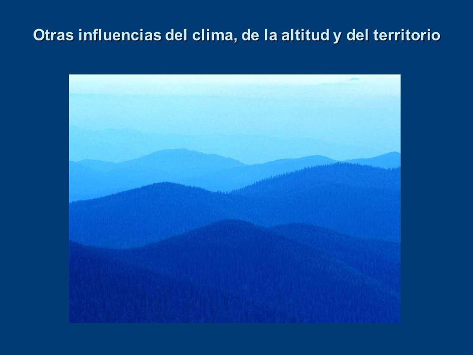 Otras influencias del clima, de la altitud y del territorio