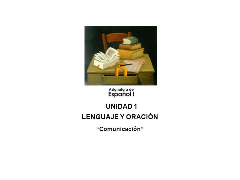 UNIDAD 1 LENGUAJE Y ORACIÓN Comunicación