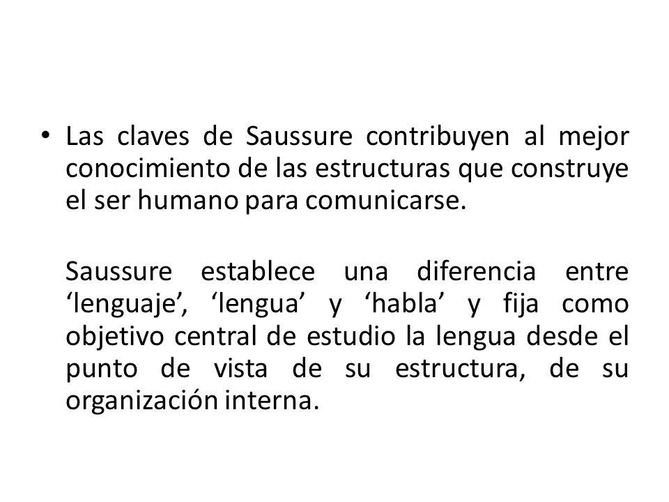 Las claves de Saussure contribuyen al mejor conocimiento de las estructuras que construye el ser humano para comunicarse.