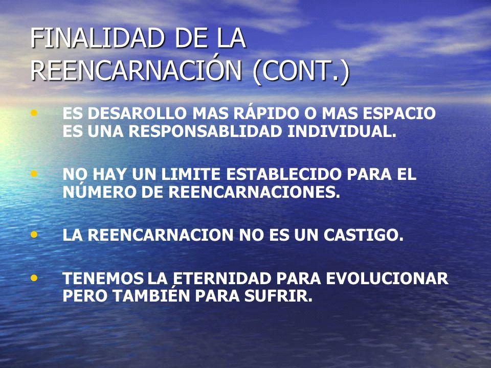 FINALIDAD DE LA REENCARNACIÓN (CONT.)