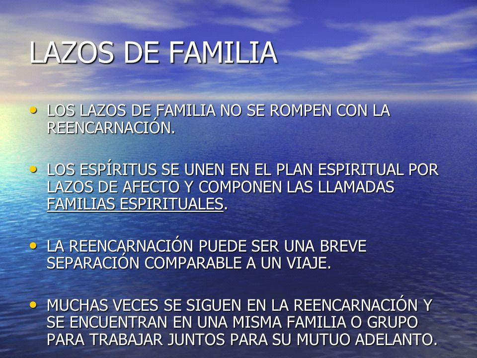 LAZOS DE FAMILIA LOS LAZOS DE FAMILIA NO SE ROMPEN CON LA REENCARNACIÓN.