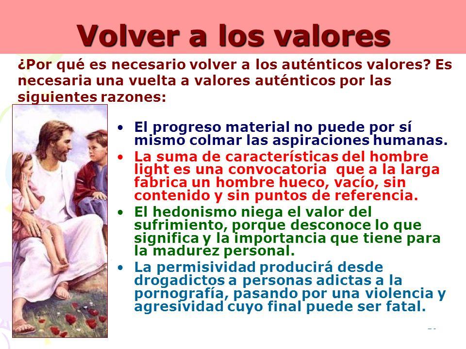 Volver a los valores ¿Por qué es necesario volver a los auténticos valores Es necesaria una vuelta a valores auténticos por las siguientes razones: