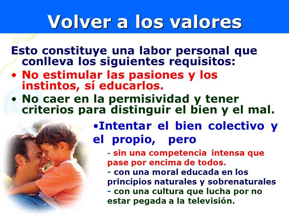 Volver a los valores Esto constituye una labor personal que conlleva los siguientes requisitos: