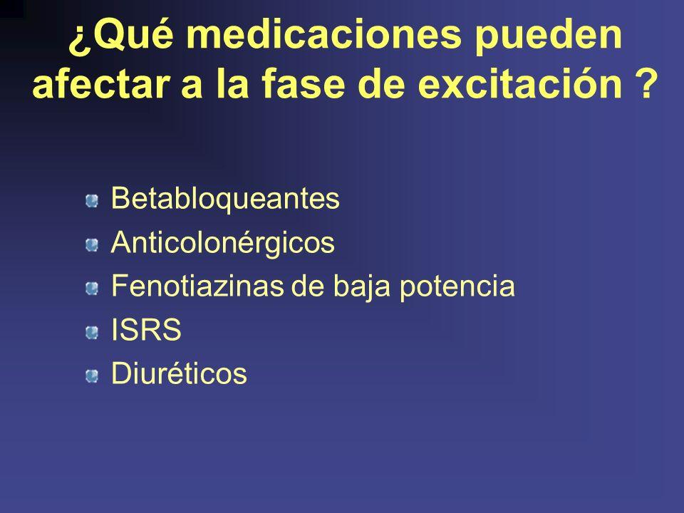 ¿Qué medicaciones pueden afectar a la fase de excitación