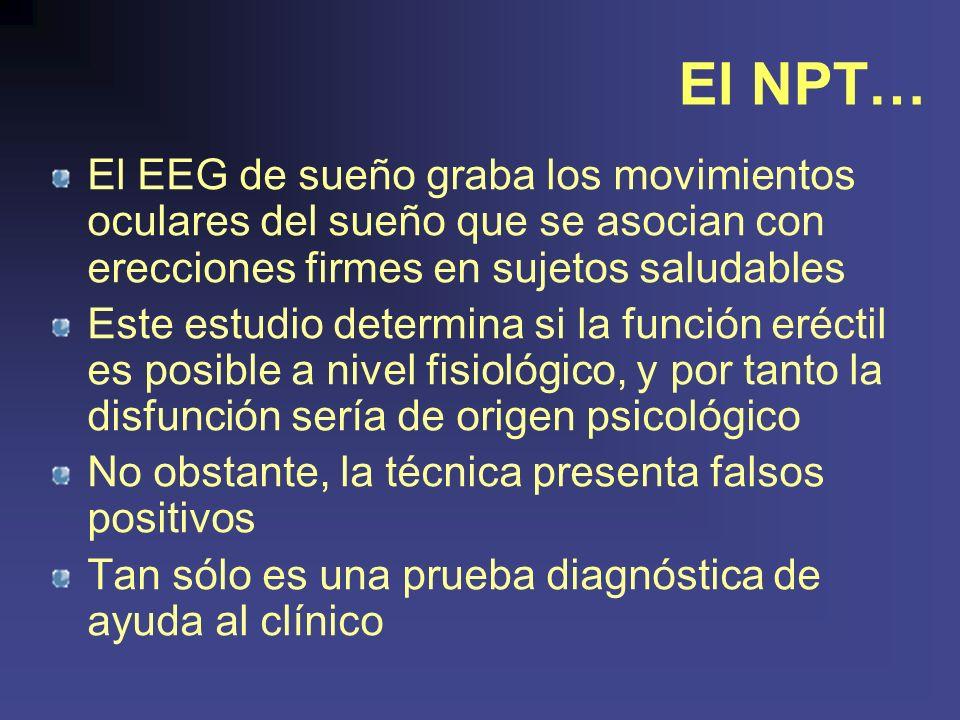 El NPT… El EEG de sueño graba los movimientos oculares del sueño que se asocian con erecciones firmes en sujetos saludables.
