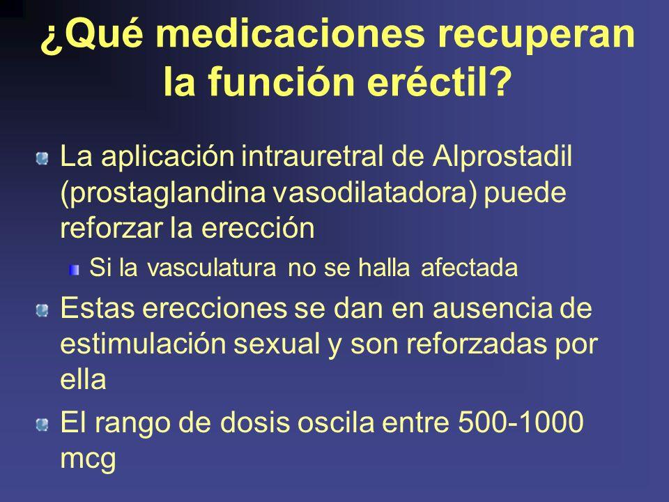¿Qué medicaciones recuperan la función eréctil