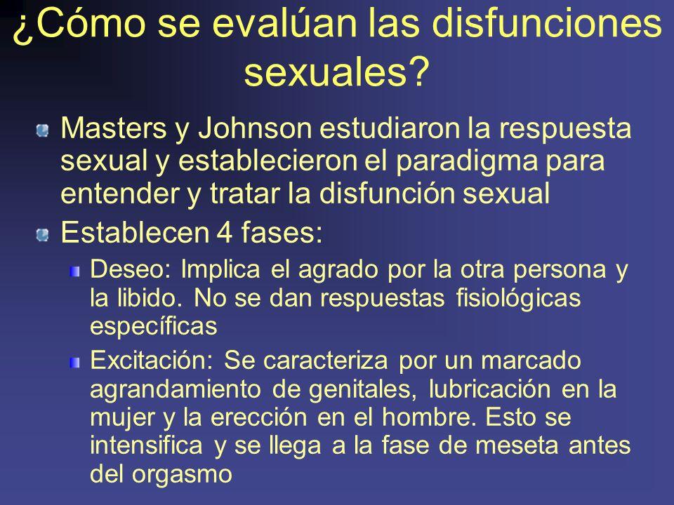 ¿Cómo se evalúan las disfunciones sexuales