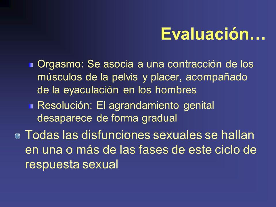 Evaluación… Orgasmo: Se asocia a una contracción de los músculos de la pelvis y placer, acompañado de la eyaculación en los hombres.