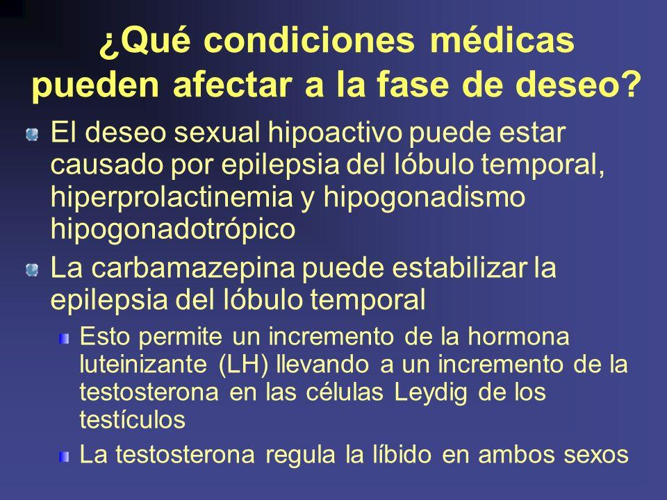 ¿Qué condiciones médicas pueden afectar a la fase de deseo