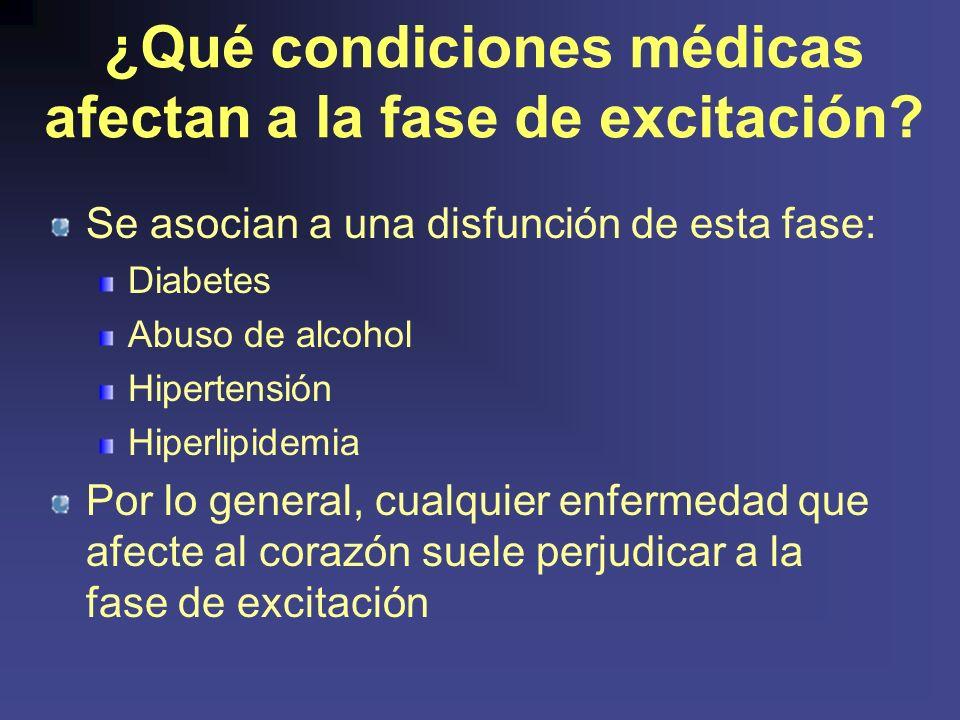 ¿Qué condiciones médicas afectan a la fase de excitación