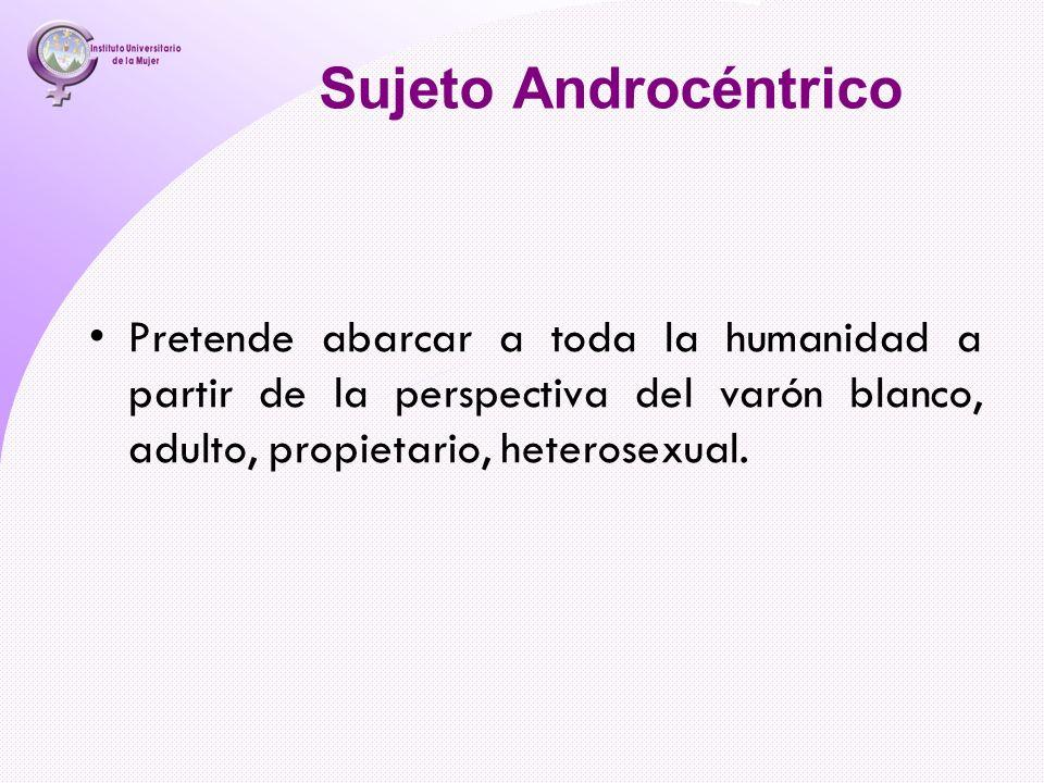 Sujeto Androcéntrico Pretende abarcar a toda la humanidad a partir de la perspectiva del varón blanco, adulto, propietario, heterosexual.