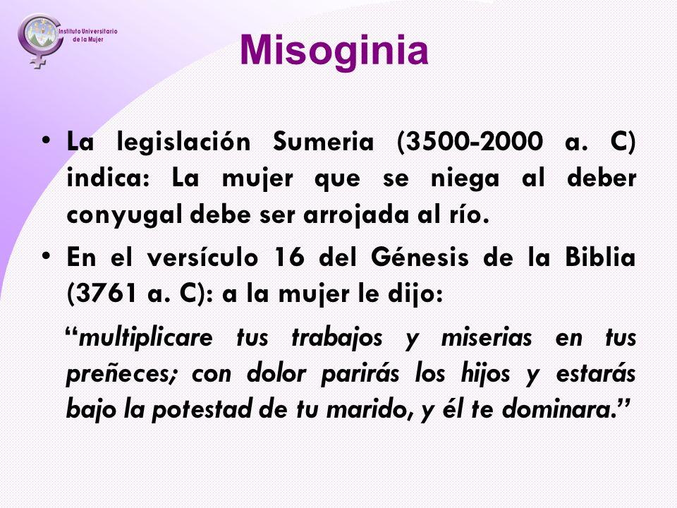 Misoginia La legislación Sumeria (3500-2000 a. C) indica: La mujer que se niega al deber conyugal debe ser arrojada al río.