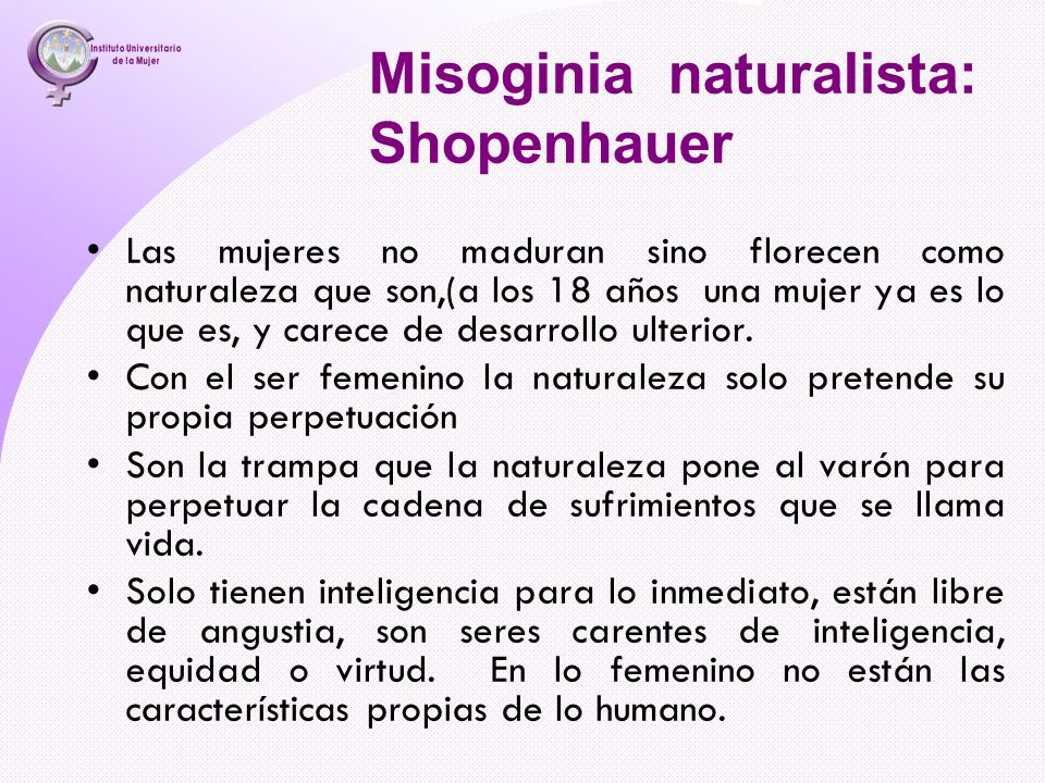 Misoginia naturalista: Shopenhauer