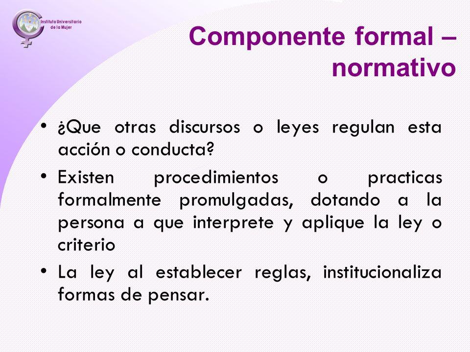 Componente formal – normativo