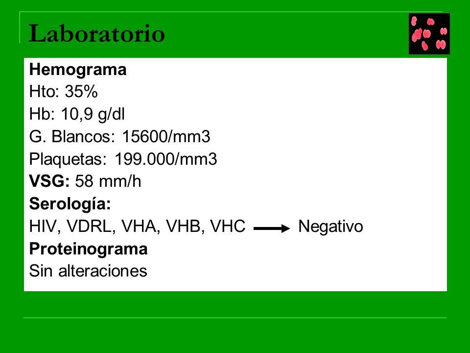 Laboratorio Hemograma Hto: 35% Hb: 10,9 g/dl G. Blancos: 15600/mm3