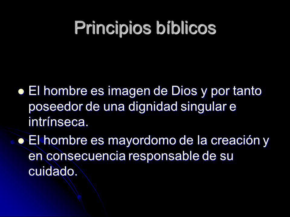 Principios bíblicos El hombre es imagen de Dios y por tanto poseedor de una dignidad singular e intrínseca.
