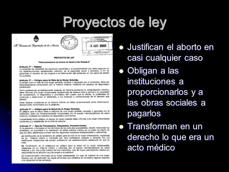 Proyectos de ley Justifican el aborto en casi cualquier caso