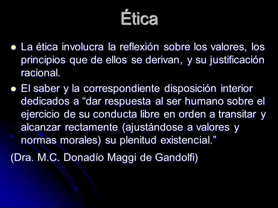 Ética La ética involucra la reflexión sobre los valores, los principios que de ellos se derivan, y su justificación racional.
