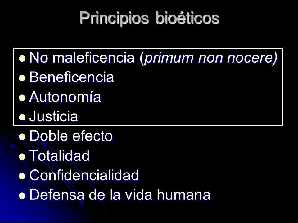 Principios bioéticos No maleficencia (primum non nocere) Beneficencia