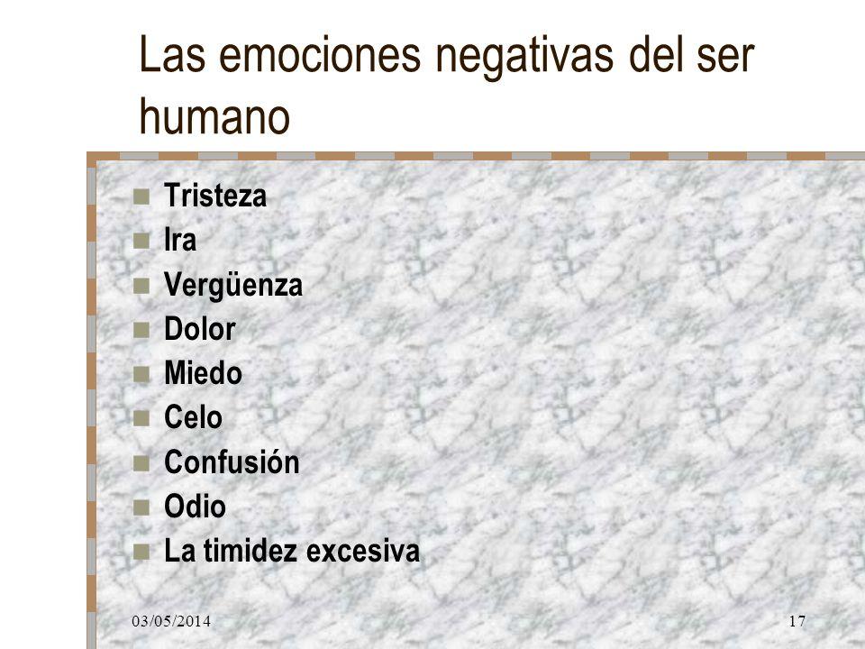 Las emociones negativas del ser humano