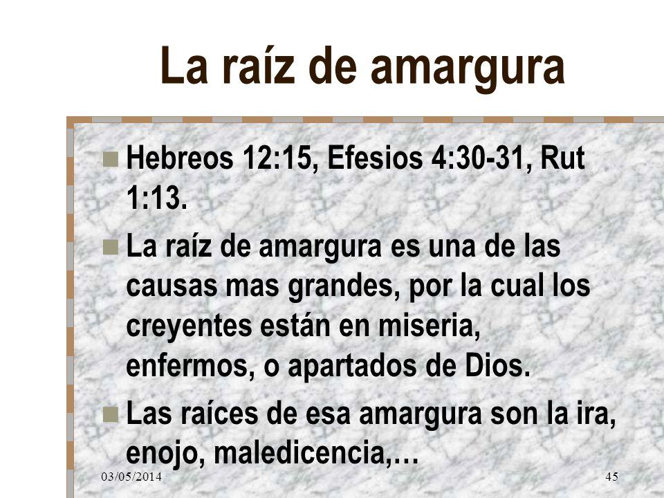 La raíz de amargura Hebreos 12:15, Efesios 4:30-31, Rut 1:13.
