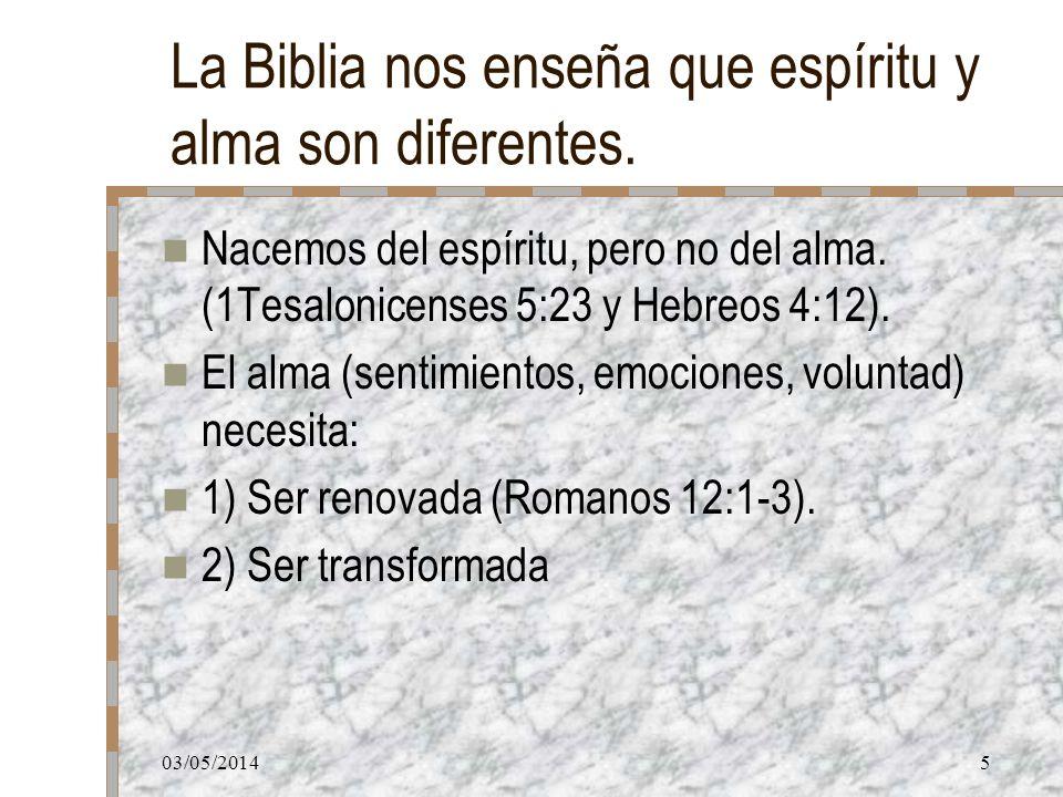 La Biblia nos enseña que espíritu y alma son diferentes.
