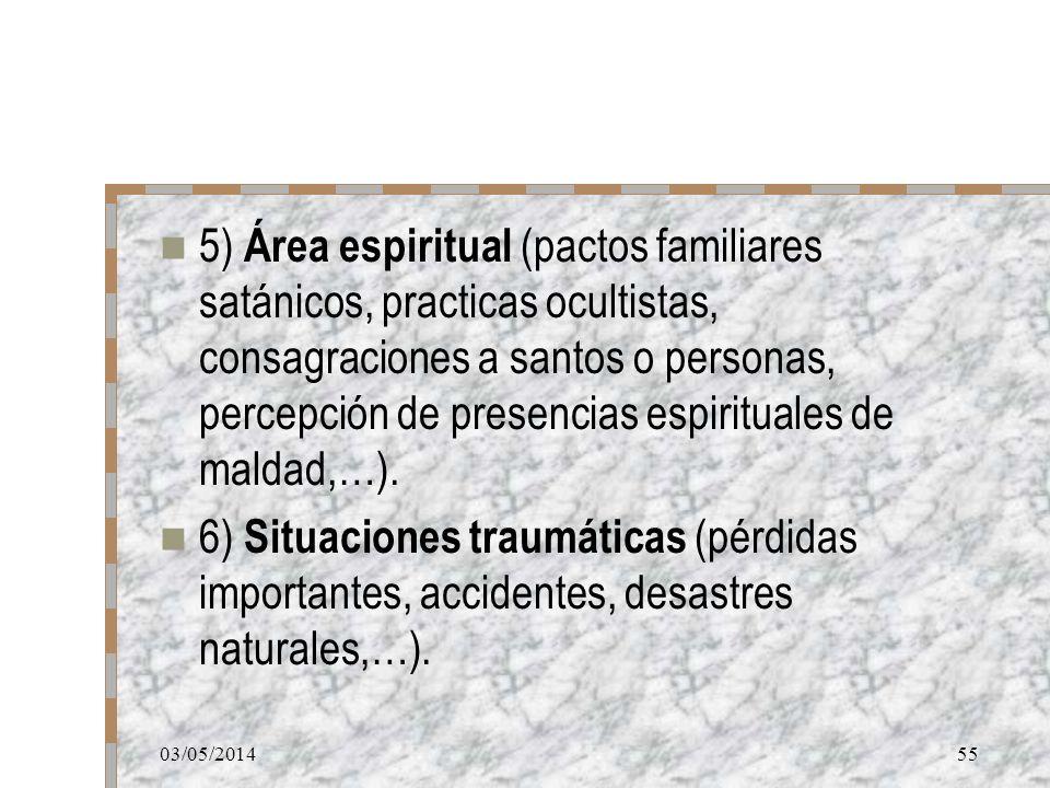 5) Área espiritual (pactos familiares satánicos, practicas ocultistas, consagraciones a santos o personas, percepción de presencias espirituales de maldad,…).