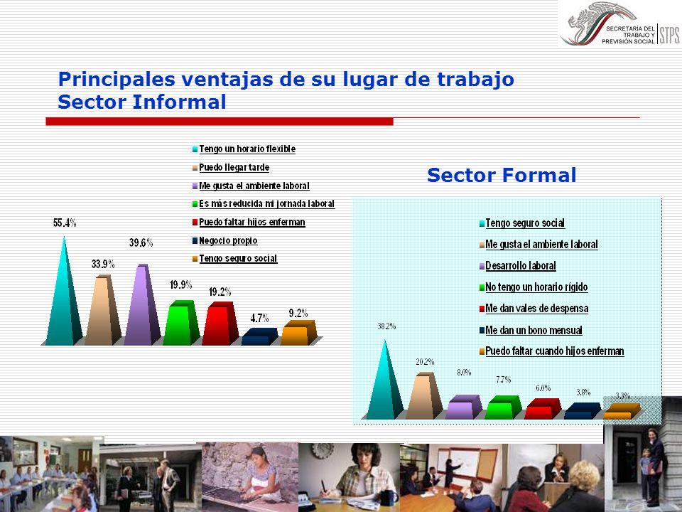 Principales ventajas de su lugar de trabajo Sector Informal