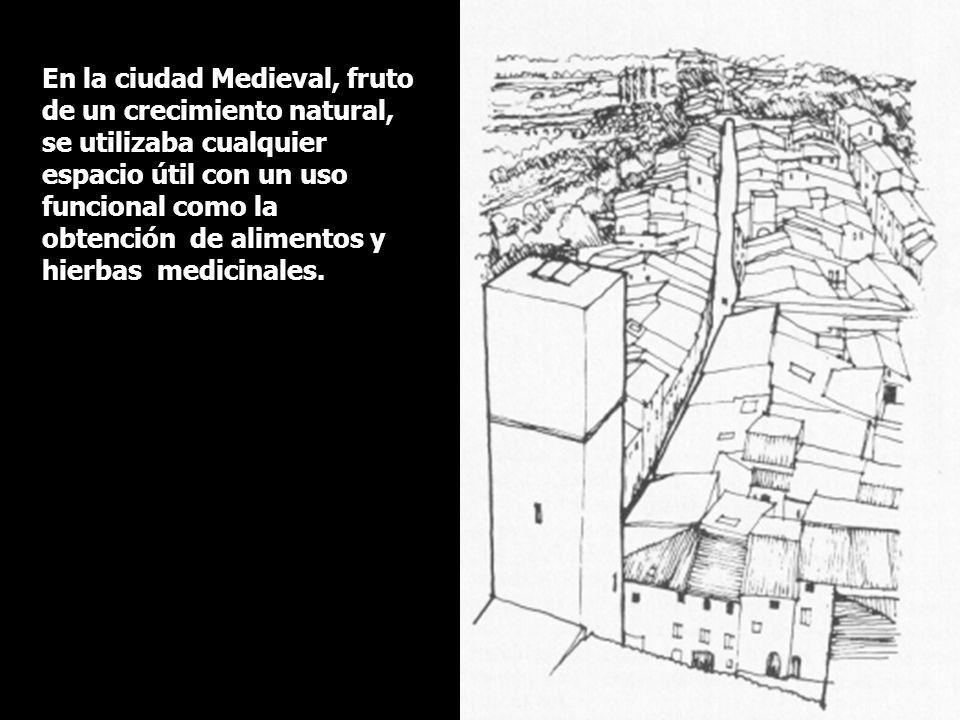 En la ciudad Medieval, fruto de un crecimiento natural, se utilizaba cualquier espacio útil con un uso funcional como la obtención de alimentos y hierbas medicinales.