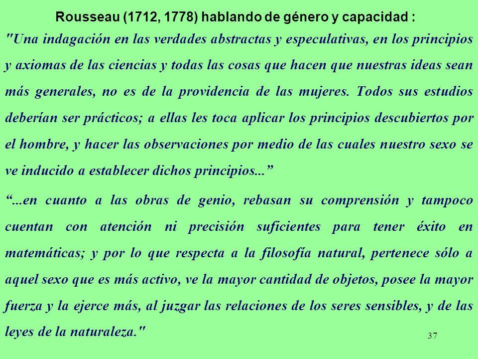 Rousseau (1712, 1778) hablando de género y capacidad :