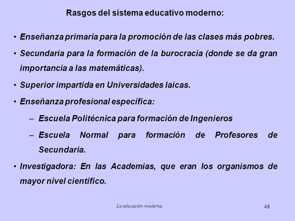 Rasgos del sistema educativo moderno: