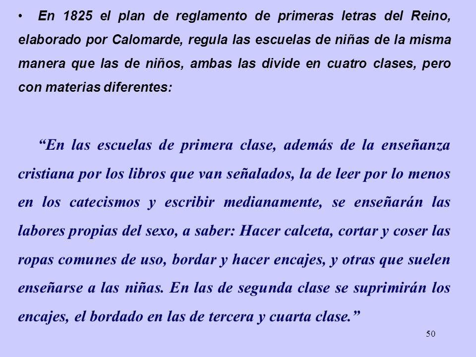 En 1825 el plan de reglamento de primeras letras del Reino, elaborado por Calomarde, regula las escuelas de niñas de la misma manera que las de niños, ambas las divide en cuatro clases, pero con materias diferentes: