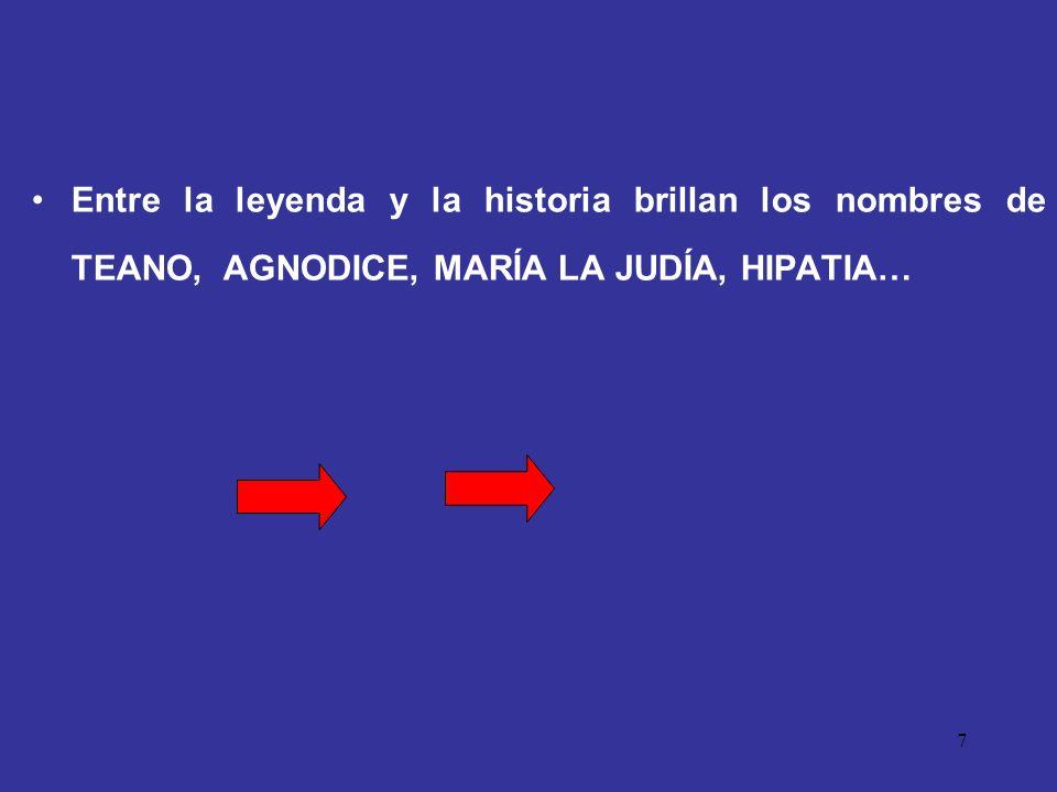 Entre la leyenda y la historia brillan los nombres de TEANO, AGNODICE, MARÍA LA JUDÍA, HIPATIA…