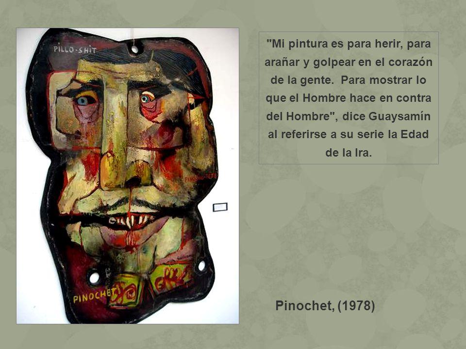 Mi pintura es para herir, para arañar y golpear en el corazón de la gente. Para mostrar lo que el Hombre hace en contra del Hombre , dice Guaysamín al referirse a su serie la Edad de la Ira.