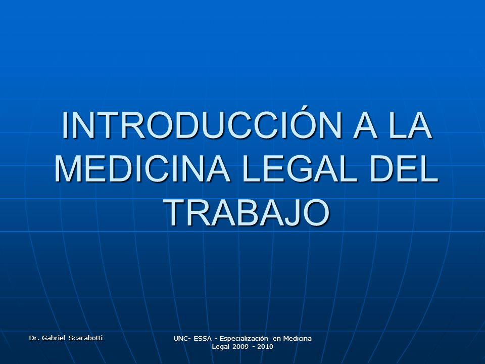 INTRODUCCIÓN A LA MEDICINA LEGAL DEL TRABAJO