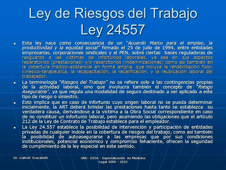 Ley de Riesgos del Trabajo Ley 24557