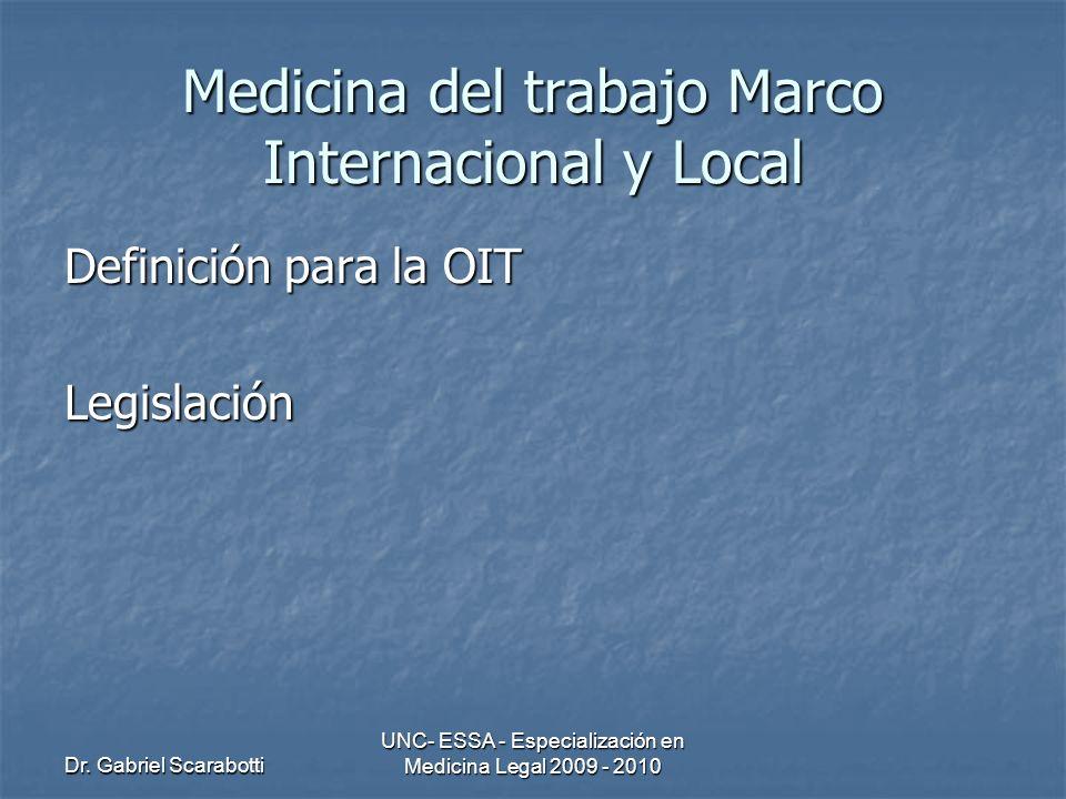 Medicina del trabajo Marco Internacional y Local