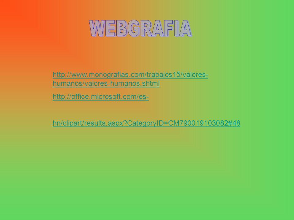 WEBGRAFIA http://www.monografias.com/trabajos15/valores-humanos/valores-humanos.shtml. http://office.microsoft.com/es-